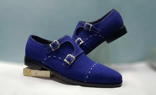 Hecho a mano para Hombres Azul Genuino Gamuza Doble Monje Hebilla Formal Zapatos Slip Ons