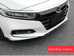FOR 2018-2019 HONDA ACCORD JDM 3PC STYLE GLOSSY BLACK FRONT BUMPER LIP SPLITTER