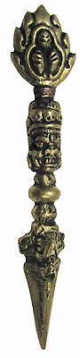 "4"" Tri Ratna Kīla Phurba Vajrakilaya Brass Stake Dagger Tibetan Buddhist 11 Cm Antiques Other Asian Antiques"