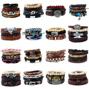 Men-Women-Retro-Handmade-Genuine-Leather-Bracelet-Braided-Bangle-Wristband-Set