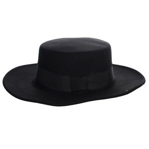 c963297be6b Fashion Vintage Flat Top Wide Brim Round Wool Felt Fedora Hat ...