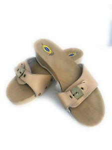 a0cc8d885c02f5 Vintage Dr Scholls Tan Wood Exercise Sandals Shoes Womens 7 Made In ...