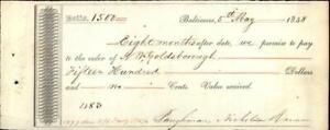 1848 Baltimore Massachusetts (MA) Saughmam Nicholas Parker Cheque N. W. Goldsbor