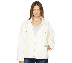 NWT-Free-People-Denim-Trucker-Jacket-Worn-White-Color-Size-XS-S-128-OFBR