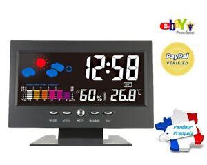 Station-Meteo-interieur-Thermometre-Hygrometre-Horloge-Snooze-Retro-eclaire-voix