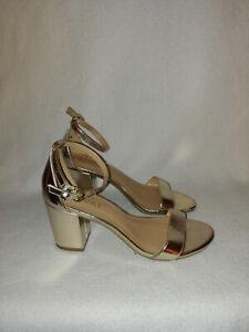 Women Report Pamela Soft Gold Ankle Strap Open Toe Heel Sandal Shoes Size 7.5 M