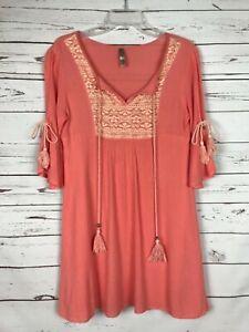 Boutique-Entro-Coral-Boho-Cold-Shoulder-Lace-Tunic-Blouse-Top-Women-039-s-S-Small