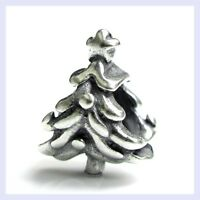 STR Silver Christmas Tree with Star Gift Holiday Bead f/ European Charm Bracelet