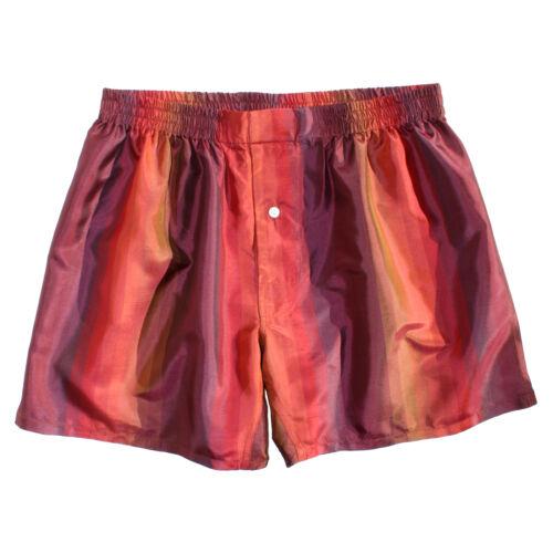 NEW Royal Silk® Fire Maroon Stripes Men/'s Silk Boxers S-2XL