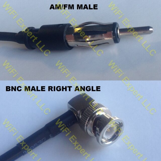 USA-CA RG174 AM//FM MALE to BNC MALE ANGLE Coaxial RF Pigtail Cable