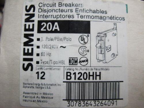NEW Siemens B120HH 1 POLE 20 AMP 120 VOLT 65 KAIC Circuit Breaker