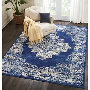 Details About Throw Rug Contemporary Oriental Blue Living Room Bedroom Area Floor Mat 8x10