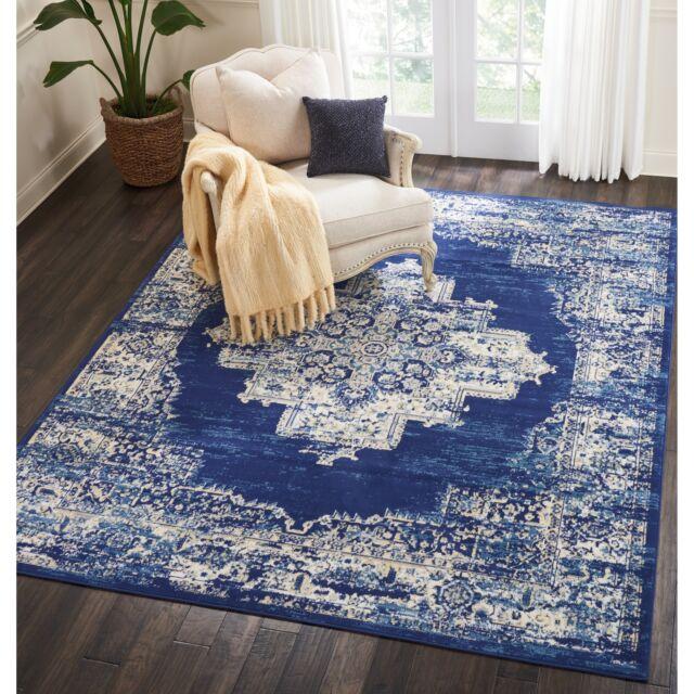 Throw Rug Contemporary Oriental Blue Living Room Bedroom Big Area Floor Mat  8x10