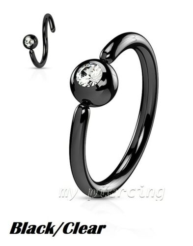 Front Facing Fixed Gem Ball IP Surgical Steel Ear Eyebrow Nose Hoop Ring