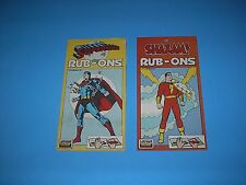 VINTAGE DC COMICS SUPERMAN AND SHAZAM RUB-ONS 1977 USED