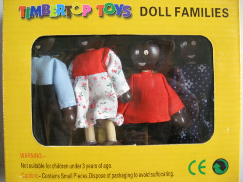 DOLL FAMILY WOODEN BENDABLE 4PCE COSTUMED DOLL SET IN BOX AFRICAN BUNNY U CHOOSE