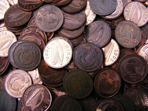 Lot Of Six Irish Decimal One Penny Coins Stylized Bird And Harp
