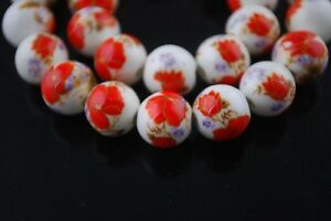10pcs12mm-Round-Porcelain-Ceramic-Loose-Spacer-Big-Hole-Beads-Charms-Red-Poppy