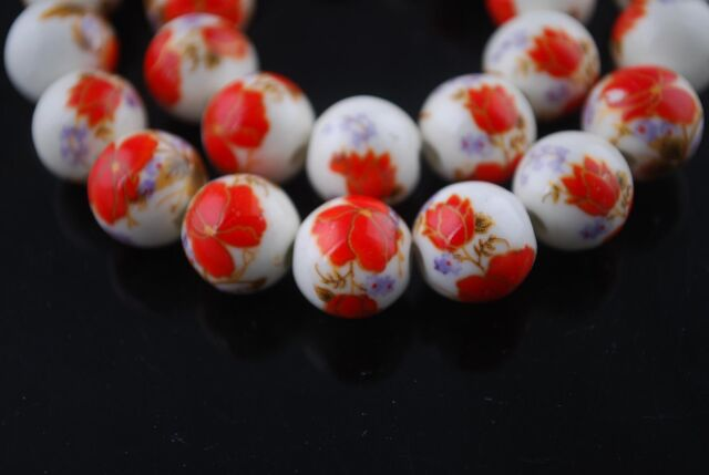 10pcs12mm Round Porcelain Ceramic Loose Spacer Big Hole Beads Charms Red Poppy