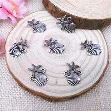 Wholesale 10Pcs Tibet Silver Starfish Seashells Charm Pendant Beaded Jewelry