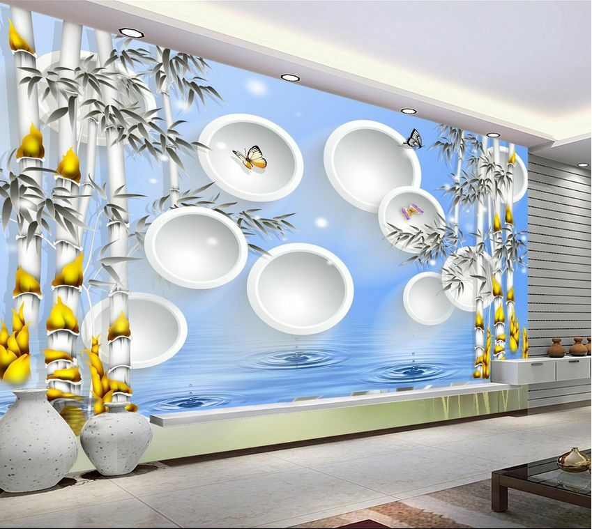 3D bambù moderno moderno moderno Parete Murale Foto Carta da parati immagine sfondo muro stampa 2f441e