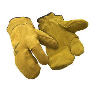 RefrigiWear-Sherpa-Lined-Three-Finger-Split-Cowhide-Leather-Mitten-Gloves-Gold