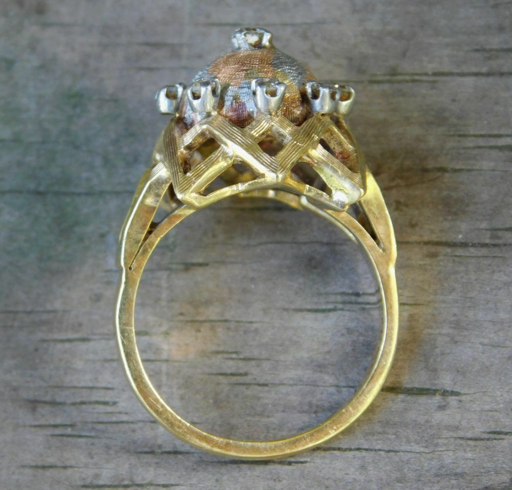 14k gold Ring with 9 Diamonds size 7