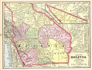 1902 Antique BOLIVIA Map Vintage Map of Bolivia South America Map ...