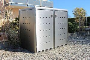 2er m lltonnenbox edelstahl m llbox m lltonnenverkleidung komplett aufgebaut ebay. Black Bedroom Furniture Sets. Home Design Ideas