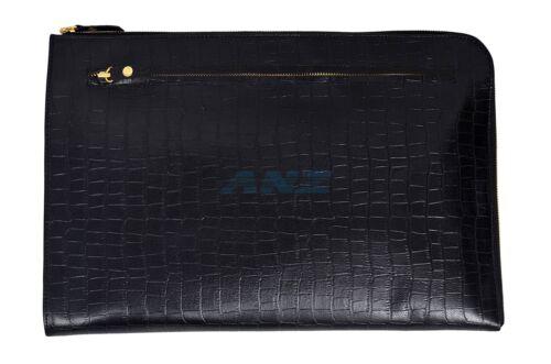 luxe cuir de en support de document Nouveau Croc véritable de d'impression dossier de noire cas noir de qFWpP