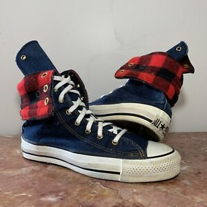 Details about Vintage 80s Made In USA Converse All Star X-Hi Chuck Taylor Mens 6.5 Plaid Denim
