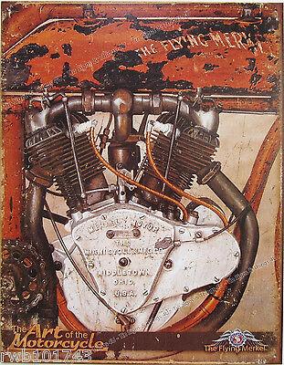 Flying Merkel Motor TIN SIGN vtg antique motorcycle metal garage wall decor 2006