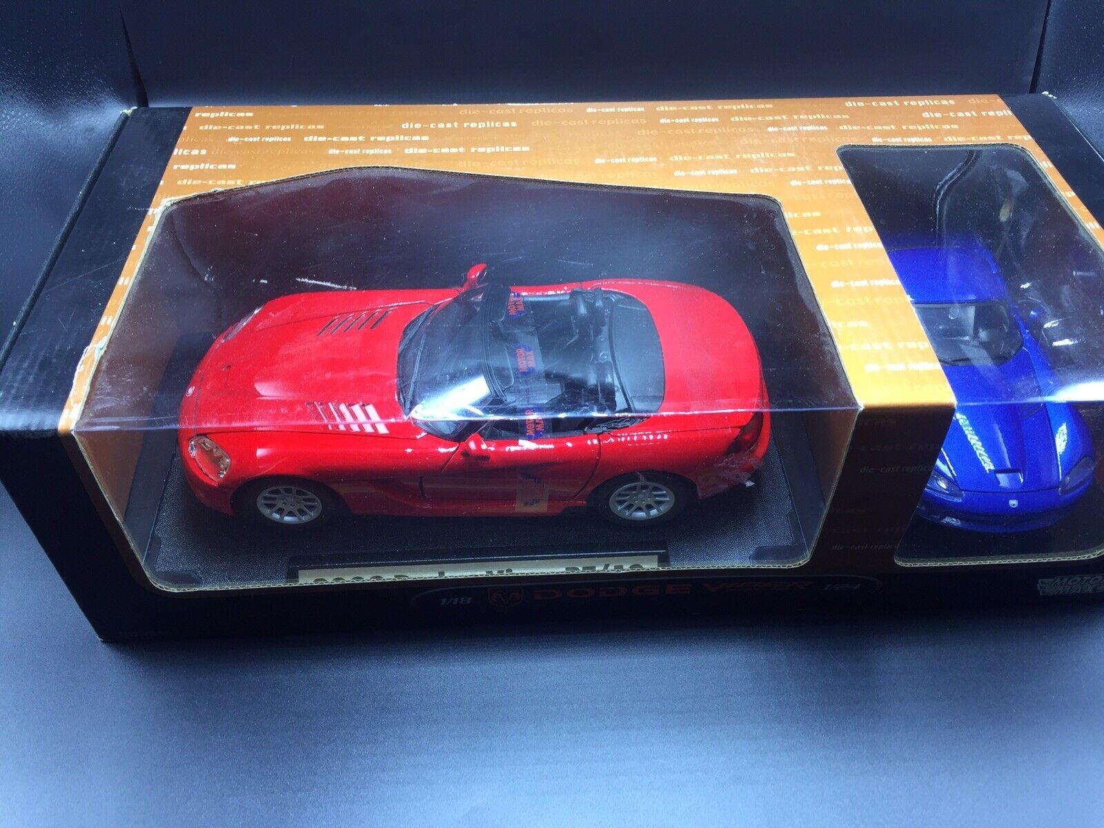 1 18 MotorMax 2003 Dodge Viper RT 10 modello auto rosso & 1 24 Viper blu Dodge