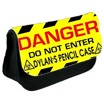 Personalised Danger Keep Out School Pencil Case and College/Messenger  Bag Gift