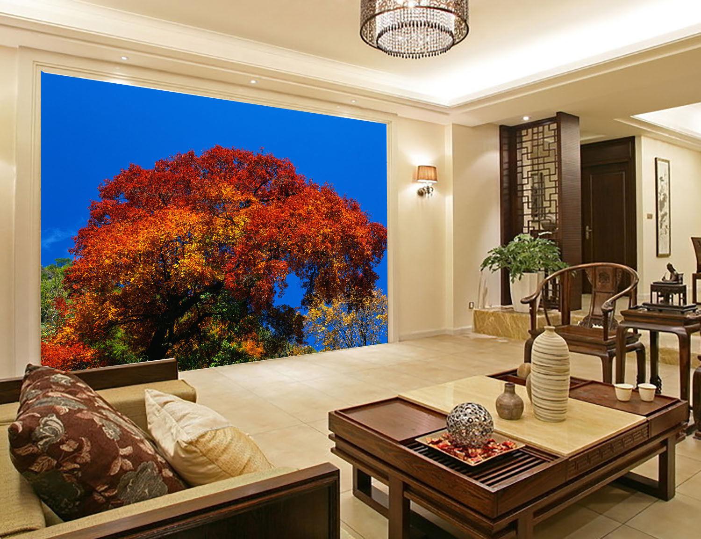 Papel Pintado Roja Mural De Vellón Hojas Roja Pintado Y Cielo Azul 31 Paisaje Fondo Pantalla b72b6d