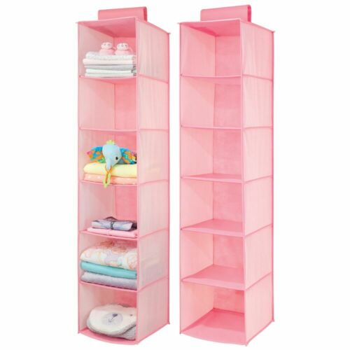 Pink 2 Pack mDesign Kids//Child Fabric Over Closet Rod Hanging Organizer