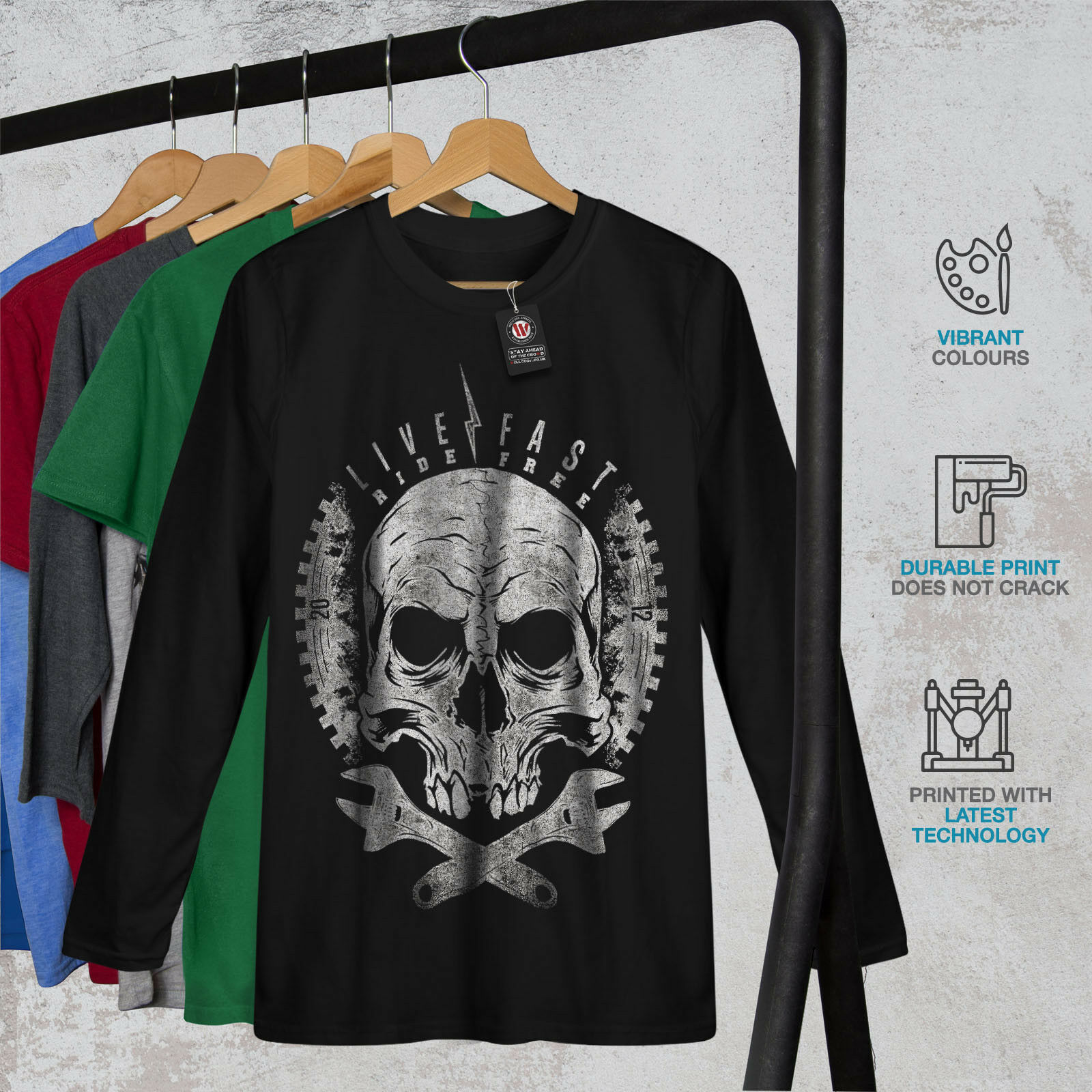 Skull longues Head Ride Motard Femmes T-shirt à manches longues Skull Nouveau 3a30d8