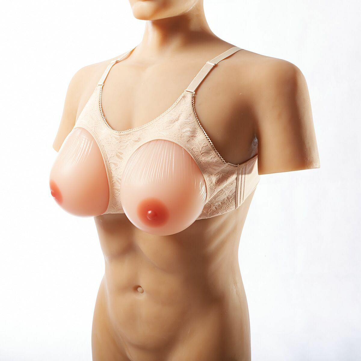 1000g pair Large Breast Forms Silicone Breast Prosthesis Fake Breast with Bra