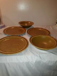Independence-Stoneware-Interpace-Light-Brown-2-soup-bowls-3-salad-plates-Japan
