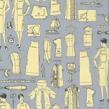 RJR Vintage Made Modern Grey Gray Sewing Pattern Pieces Cream Fabric BTY