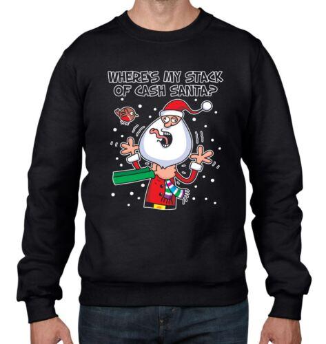 Where/'s My Cash Santa Funny Christmas Men/'s Sweatshirt Jumper