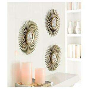 3pc Round Sunburst Bronze Effet Décoratif Mural Art Déco Miroirs Vintage Home-afficher Le Titre D'origine Douceur AgréAble