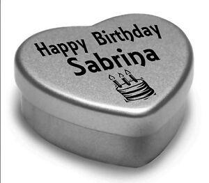 Happy Birthday Sabrina Mini Heart Tin Gift Present For Sabrina With