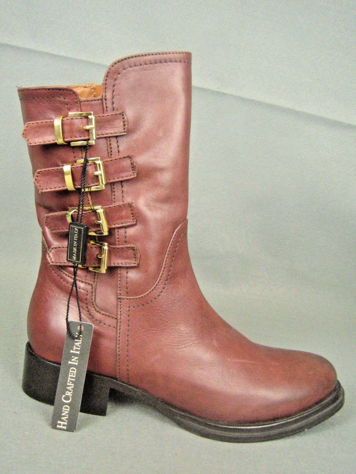 NAPOLEONI ITALY Brown Leather NEW Mid-Calf Moto Boots 36 (6/6.5)