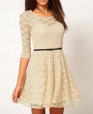 Spitze Kleid Spitzenkleid Minikleid Abendkleid Tunika Cocktailkleid Gürtel CTB47