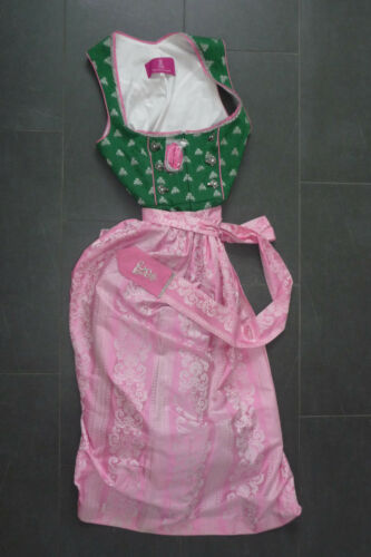 2 Pieces Dirndl Of King Ludwig Of Bavaria Size 42 Green Pink + Apron New