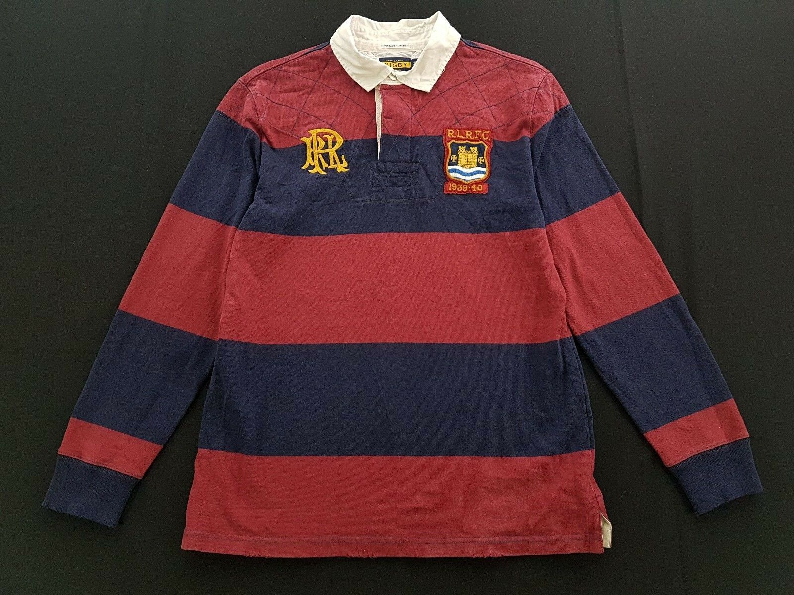 Rugby Ralph Lauren Striped Patch Navy Burgundy Size XL Mens Polo Shirt RRL