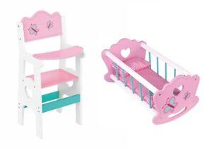 En bois poupée chaise haute en bois jouet jeu Papillons Roses 43 cm pour poupées