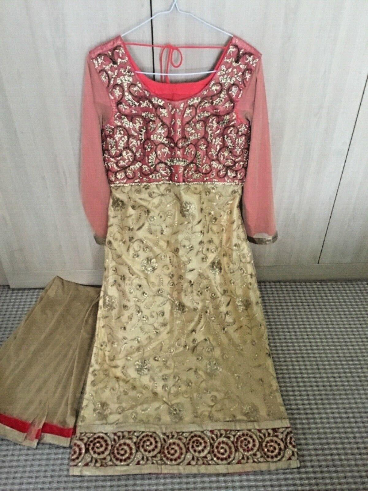 Asian India  Pakistani SANJI Designer Kurti Tunic Long DIAMANTÉ Dress+Scarf