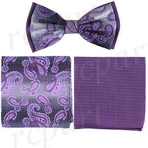 New Brand Q men/'s pre-tied bow tie paisley micro fiber formal wedding dark gray